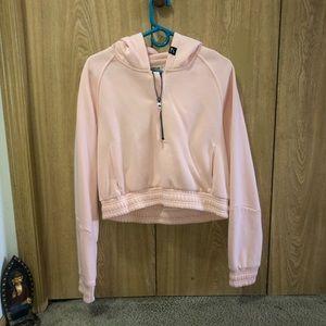 Pink half zip crop sweater